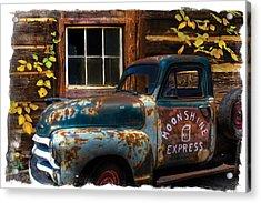 Moonshine Express Bordered Acrylic Print by Debra and Dave Vanderlaan