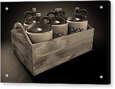 Moonshine In Wooden Crate Acrylic Print by Allan Swart