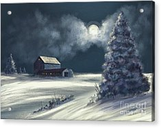 Acrylic Print featuring the digital art Moonshine On The Snow by Lois Bryan