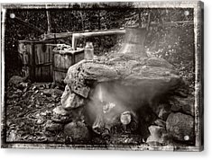 Moonshine Still In Black And White With Border Acrylic Print