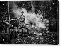 Moonshine Still With Mark And Huck In Black And White Acrylic Print