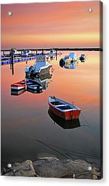 Moored Boats On Sea At Sunset Acrylic Print by Juampiter