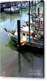 Acrylic Print featuring the painting Moored Boats by Sergey Zhiboedov