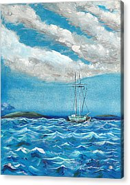 Moored In The Bay Acrylic Print by J R Seymour