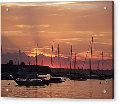 Mooring Field Sunset Acrylic Print by Walter Taylor