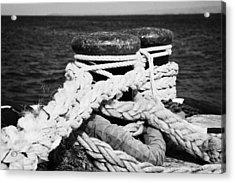 Mooring Ropes On Old Metal Harbour Bollard Scotland Acrylic Print by Joe Fox