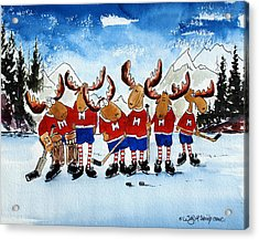 Moose Champs And Shinny Kings Acrylic Print by Wilfred McOstrich