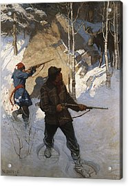 Moose Hunting Acrylic Print by Newell Convers Wyeth