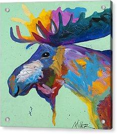 Moose In Green Acrylic Print