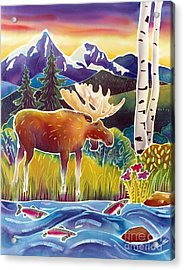 Moose On Trout Creek Acrylic Print by Harriet Peck Taylor