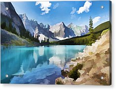 Moraine Lake At Banff National Park Acrylic Print by Lanjee Chee