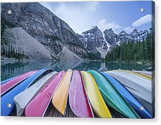 Moraine Lake Colors Acrylic Print by Alpha Wanderlust