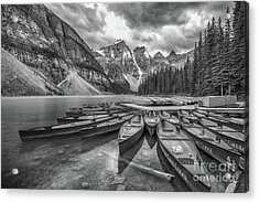 Moraine Lake In Black And White Acrylic Print