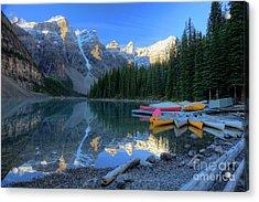Moraine Lake Sunrise Blue Skies Canoes Acrylic Print