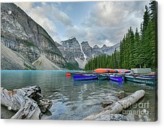 Moraine Logs And Canoes Acrylic Print
