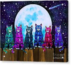 More Moonlight Meowing Acrylic Print