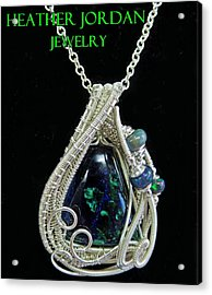 Morenci Azurite Malachite And Sterling Silver Wire Wrapped Pendant With Ethiopian Opals Mmassp2 Acrylic Print