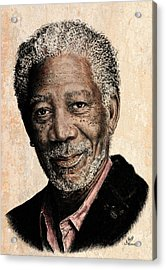 Morgan Freeman Colour Edit Acrylic Print by Andrew Read