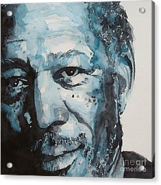 Morgan Freeman Acrylic Print by Paul Lovering