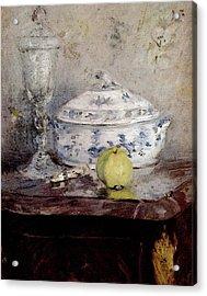 Morisot Berthe Tureen And Apple Acrylic Print by Berthe Morisot