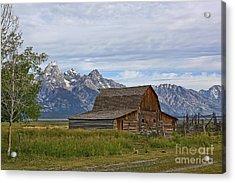 Mormon Row Barn And Grand Tetons Acrylic Print