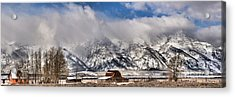 Acrylic Print featuring the photograph Mormon Row Early Winter Panorama by Adam Jewell