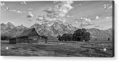 Mormon Row Farm In Black And White Acrylic Print by Andres Leon