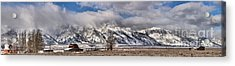 Acrylic Print featuring the photograph Mormon Row Snowy Extended Panorama by Adam Jewell