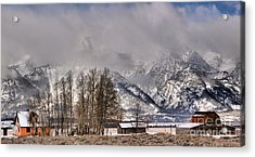 Acrylic Print featuring the photograph Mormon Row Winter Morning Panorama by Adam Jewell