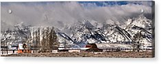 Acrylic Print featuring the photograph Mormon Row Winter Panorama by Adam Jewell