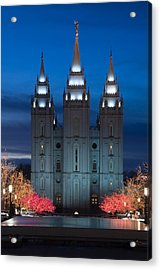 Mormon Temple Christmas Lights Acrylic Print by Utah Images
