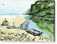 Acrylic Print featuring the painting Morning At Porto Novo Beach by Dora Hathazi Mendes