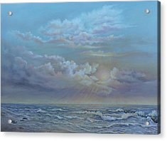 Acrylic Print featuring the painting Morning At The Ocean by Katalin Luczay