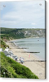Morning Bay Pt Looking Up Swanage Bay On A Summer Morning Beach Scene Acrylic Print by Andy Smy