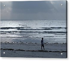 Morning Beach Walk On A Grey Day - Lone Dhow Acrylic Print
