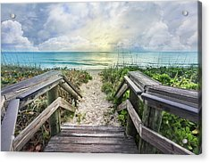 Acrylic Print featuring the photograph Morning Blues At The Dune by Debra and Dave Vanderlaan