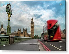 Morning Bus In London Acrylic Print by James Udall