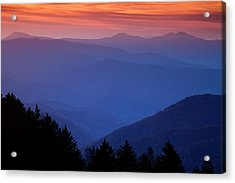 Morning Colors In The Smokies Acrylic Print by Andrew Soundarajan
