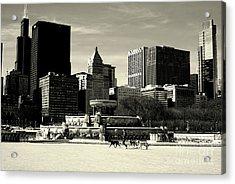 Morning Dog Walk - City Of Chicago Acrylic Print