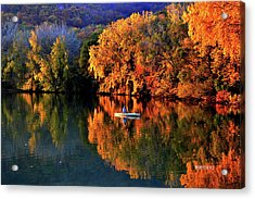 Morning Fishing On Lake Winona Acrylic Print