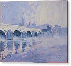 Morning Fog Around The Old Bridge Acrylic Print