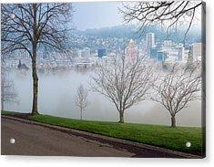 Morning Fog Over City Of Portland Skyline Acrylic Print by David Gn