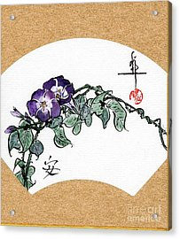 Morning Glories Fan Painting Acrylic Print by Linda Smith