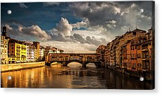 Acrylic Print featuring the photograph Morning Glow On Ponte Vecchio by Andrew Soundarajan