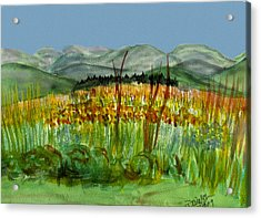 Acrylic Print featuring the painting Morning In Backyard At Barton by Donna Walsh