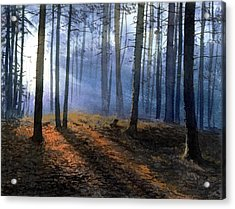Acrylic Print featuring the painting Morning In Pine Forest by Sergey Zhiboedov