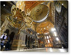 Morning Light In An Empty Hagia Sophia With Chandeliers And Gold Acrylic Print by Reimar Gaertner