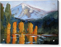 Acrylic Print featuring the painting Morning Light Mountain Landscape Painting by Nancy Merkle