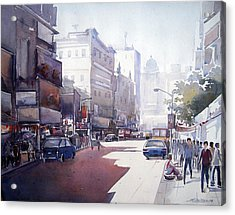 Acrylic Print featuring the painting Morning Light Shadow In Kolktaa by Samiran Sarkar