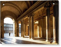 Acrylic Print featuring the photograph Morning Lights At The Louvre Museum by Ivy Ho